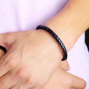 Other - Stainless Steel Black Braid Leather Men's Bracelet